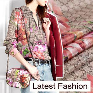 110CM Wide 14MM Floral Print Silk Crepe De Chine Fabric for Summer Clothing Dress Blouse Skirt E068