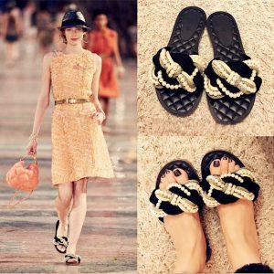 2017 European Famous Brand Beading Sandals Women Espadrilles Flat Slippers Plaid Design Beach Sandals Gladiator Shoes Woman