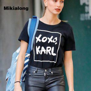 2017 Fashion Harajuku Casual Women's T-Shirts Femme XOXO KARL Printed Punk Rock T Shirt Women Summer Short Sleeve Camiseta Mujer