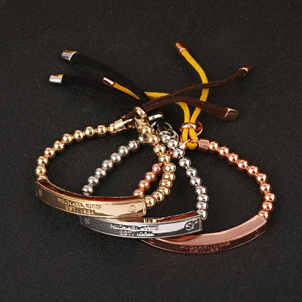 2017 Hot New Fashion Female Copper Alloy Beads Gold Sliver Rose Gold Wrist Bracelet Trendy Heart Metal Perfect Cuff Bracelet