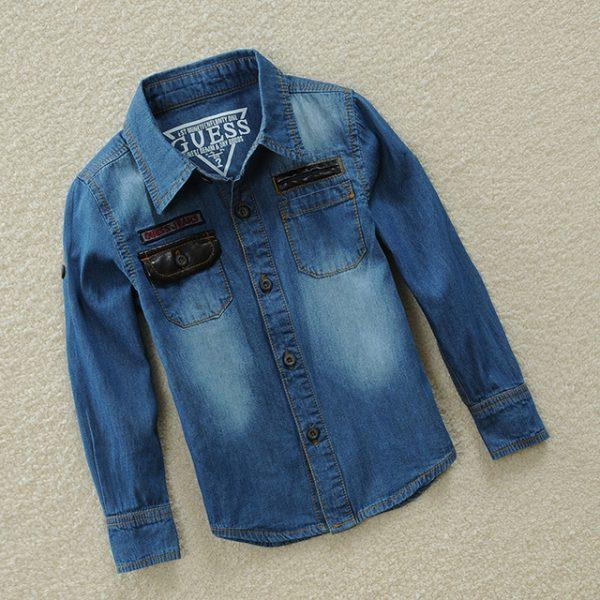 2017 Spr-Autumn Kids Shirts Long Sleee Boys Shirts Denim Jeans Thin Trench For Boy Clothes Summer Shorts Clothes Height 85-155cm