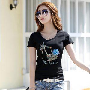 2017  Summer Ladies Fashion Black T-shirt  Handmade Pattern Slim Cotton 3D T Shirt for woman with high-heeled shoes LOGO 2809