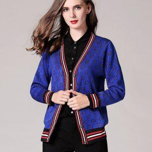 2017 Women's New Autumn Winter V Neck Single Breasted Contrast Color Striped Sparkling Silk Knit Sweater Cardigan Jersey Tops