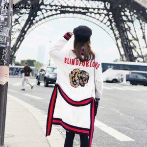 2018 Fashion Spring Loose Sash Cardigan Sweater Tiger V-neck Jumper Knitted Cardigan Female Coat Outerwear