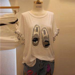 2018 Hot Sale O-neck Cotton Print Satin Tumblr Unicorn Tops Summer New Korean Fashion Shinny Sequins Beaded Sleeved T-shirt Tee