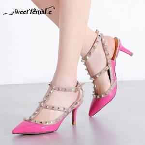 2018 New Spring Summer Sexy 10CM Pumps Women shoes Genuine leather High heel shoes Fashion Gladiator Rivet Sandals Plus size