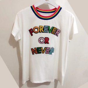 2018 summer T-shirt women's casual black and white women's clothing brand apparel embroidery letters rainbow collar shirt A28562