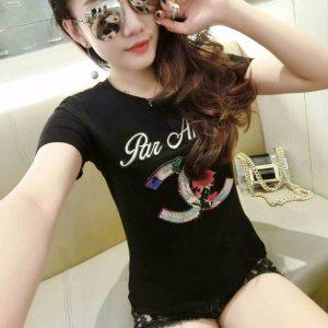 2018 summer new Korean sequined T-shirt stickers cloth letter Slim temperament T-shirt