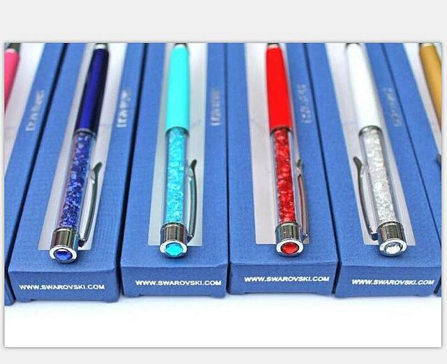 24 colors Diamond on Top Swarovski Crystal pen with Gift retail box case  swarovski elements crystals 6c0a828af