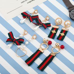 4 Designs Women Korea Drop Earring Red Green Stripe Ribbon Golden Bee Earring