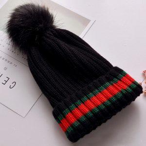 6 Colors Winter New Design Cotton Hat Women Red Green Stripe Hat