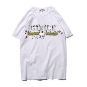 ANDYUBE Harajuku 2018 new fashion wild black and white yellow short-sleeved women T letter motifs round neck print ladies shirt