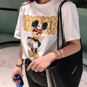 ANDYUBE2018 Summer Harajuku women's short-sleeved T-shirt letters animal round neck shirt black white multi-style women's shirt
