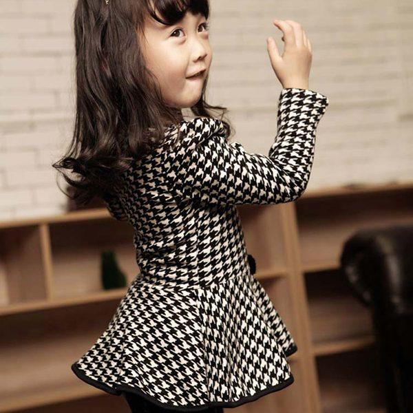 Autumn Pearl Necklace Houndstooth Children Girl Blouse Long Sleeve Bow Tops