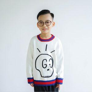 Autumn children skull  knit sweater casual wild for big boys