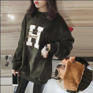 Autumn winter Korea 3XL Womens Loose Letter Print Medium-long Plus Velvet Thicken Fleece Sweatshirt Long-sleeve Hoodies Dress