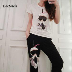 BETTOLVIS 2017 Brand New 2 piece clothing set fashion summer women top and pant set suits Tracksuit for women in 2 colors white