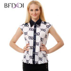 BFDADI New 2017 Summer Fashion Blouse shirt Women Lapel Sleeveless Elastic waist top Blouses Shirts Female Office tops 0956