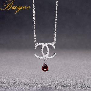 BUYEE 925 Sterling Silver Women Luxury Necklace full Zircon Double C Pendant with Drop Water Red Natural Garnet Necklace Jewelry
