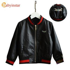 Babyinsar Fashion Boys Girls Jeather Jacket Embroidery Dragonfly Pattern Children's Coat 2017 New Personality Kids Outerwear