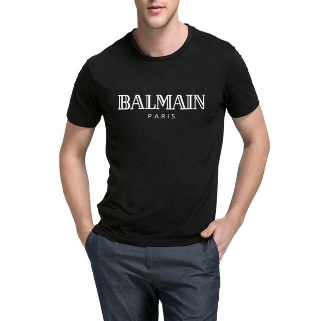 712684edd Balmain Paris T Shirt Men Fashion Letter T-Shirt Cotton Short Sleeve Shirts  for Men