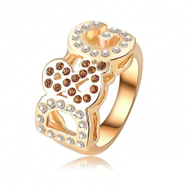 Brilliant Women Rings Jewellery  Gold Color Letter Ring Made With Genuine  Elements Austrian Crystal Ri-HQ0028