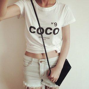 COCO New Fashion Brand Women T shirt Short Sleeve Cotton Summer Letter Print tshirt Casual Women Tops Tees Plus size