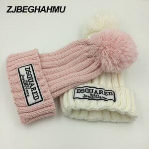 Casual Letter Beanies Women Winter Hats Crochet Knitting Wool Cap Fur Pompons Ball Warm Gorros Outdoor Brand Thick Female Cap