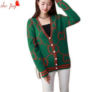 Casual Stylish Long Sleeve Knitted Women Cardigan V Neck Female Autumn Clothes Brand New Design Women's Top Sweater Cardigans