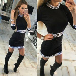 Casual Winter Women Dress Long Sleeve Round Neck Slim Fit Bodycon Dress Letter Print Sexy Womens Vestidos