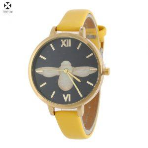 Cheap Wrist Watches Women Watches 2017 Thin Leather Strap Bee Female Clock Quartz Watch Ladies Montre Femme Relogio Feminino