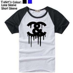 Cocaine And Caviar Crooks and Castles C&C Black Symbol Design Long Short Sleeve T-Shirt Mens Boys Tee Tops Black or Blue Sleeve