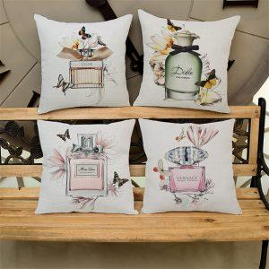 "Cotton Linen Square 18"" Brand Perfume Bottle and Butterfly Printed Sofa Decorative Cushion Covers Room Chair Pillow Case"