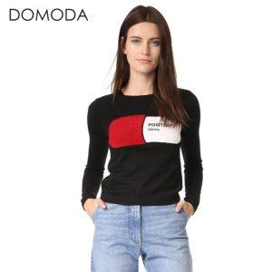 DOMODA Women Fashion Sweater Embroidery Solid Black Crew Neck Long Sleeve Pullovers Elegant Preppy Style Knitted Sweater