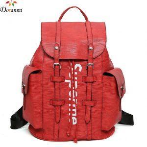 DORANMI Fashion Leather Women Backpack Large Schoolbag Laptop Shoulder Bag For Teenager Girls Letter Printed Backpacks SJB200