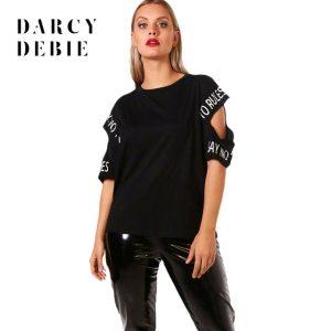 Darcydebie Plus Size Hollow Out Women T-shirts Large Size Letter Printed O-neck Female Clothing Big Size Casual Lady Tops