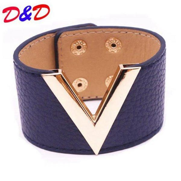 Europe And The Big Leather Bracelet Simple All-Match MS OL V Word Wide Leather Bracelet 2017 New Hand Jewelry