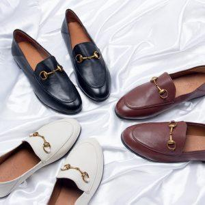 Famous Brand Leather Shoes Ladies Winter Plus Retro Cashmere Horsebit Loafer Woman Flat Bottomed Leather Pedal British Shoes