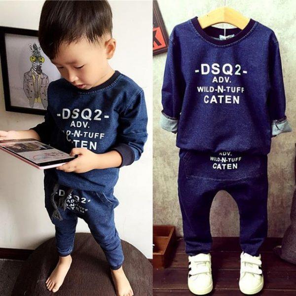 Fashion Children Clothing 2017 Spring Baby Boys Clothing Sets 2-7Yrs Kids Suits Blue Letter Hoodies + Harem Pants 2pcs/lot