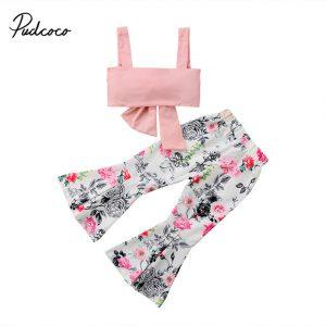 Fashion New Toddler Kids Girls Summer Clothes Pink Bow Crop Tops+Floral Bell-bottom Flared Pant 2PCS Outfits Clothing Set 1-6Y