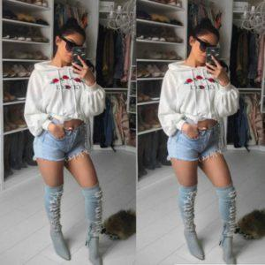Fashion Women Ladies Flower  Hoodie Loose Casual Cotton Long Sleeve Hooded Collar Shirt Blouse Tops