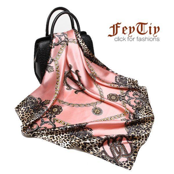 Fashion Women Scarf Luxury Brand Pink Leopard Hijab Silk Satin Shawl Scarfs Foulard Square Head Scarves Wraps 2017 NEW 90x90cm
