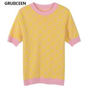 GRUIICEEN 2018 Spring Knitted Women T shirt Office Wear Tops Tees Jacquard Knitted Lady Tee Shirt Fashion High Qaulity