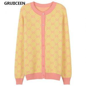 GRUIICEEN 2018 Spring Lady Knitted Cardigans Vintage Letter Pattern Single Breasted Sweater Women slim Cardigans Coat SG-0819526