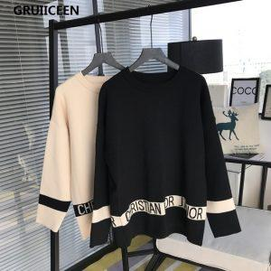 GRUIICEEN Fashion Knitting Sweater Women Winter Sweaters Autumn O-neck Lady Letters Pullovers Jumpers Sweater SG-0819485