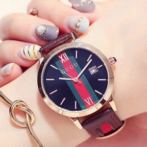 GUOU Fashion Women's Watches Luxury Ladies Bracelet Watch For Women Casual Genuine Leather Women Clock relogio feminino saat
