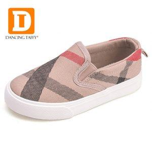 Gingham Striped Children Shoes New 2018 Brand Slip On Canvas Girls Boys Sneakers Fashion Rubber Anti Silppery Spring Kids Shoes
