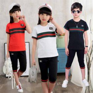 Girls Summer Suit New Children Short Sleeve T-shirt + pants summer Boys Kids Sport Sets Spell Color 4-12 Age