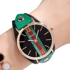 Green Red Stripe Dial Womens Dress Watches Genuine Leather 5 Colors Ladies Quartz Wristwatch 2017 New Fashion Valentine Gift