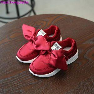 HaoChengJiaDe Kids Girls Shoes With Bow Fashion Sneaker Children Baby Girl Casual Sport Shoes Princess Cute Soft Shoes in stock